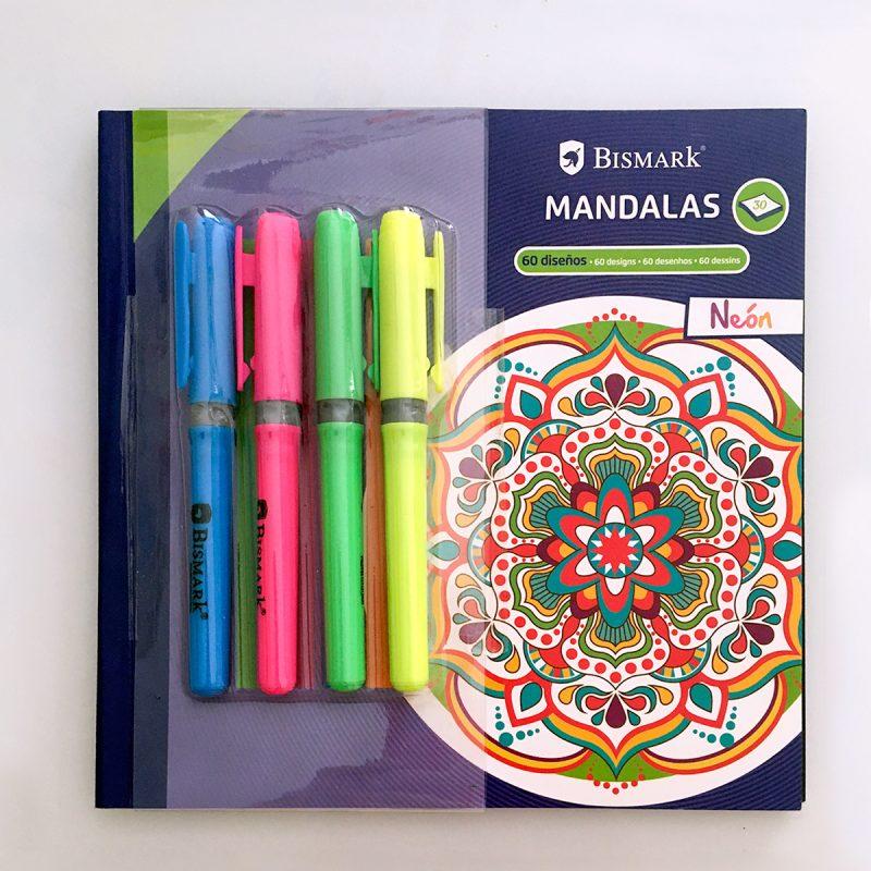 Libro mandalas + 4 rotuladores fluorescentes